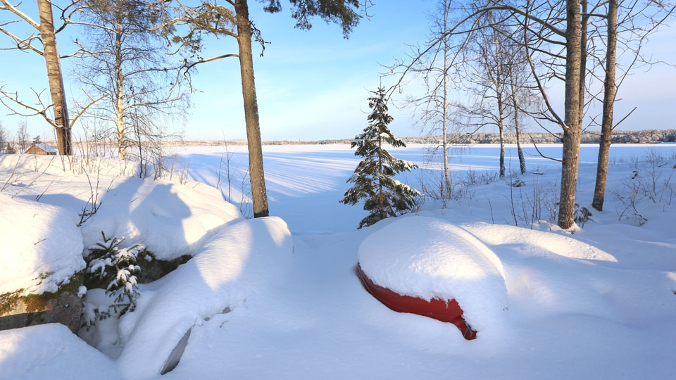 Ferienhaus-Schweden-Winter-Bootsplatz
